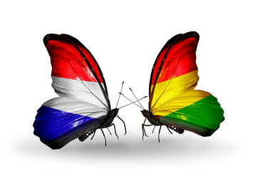 Two butterflies with flags Holland and Bolivia