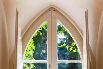 View in a garden through a decorative window