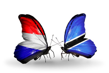 Two butterflies with flags Holland and Botswana