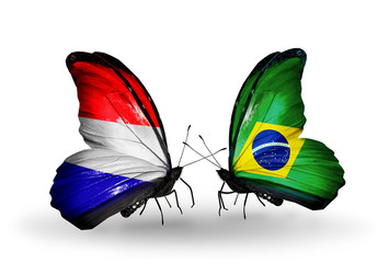 Two butterflies with flags Holland and Brazil