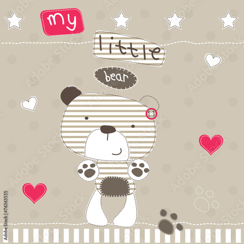cute little bear polka dot background vector illustration © yoliana