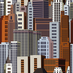 Seamless background city skyscrapers