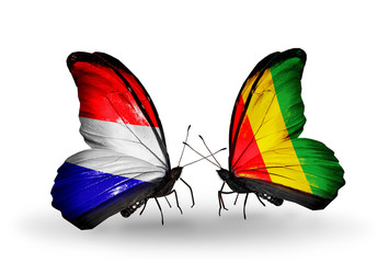 Two butterflies with flags Holland and Guinea