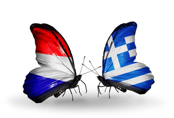 Two butterflies with flags Holland and Greece