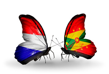 Two butterflies with flags Holland and Grenada