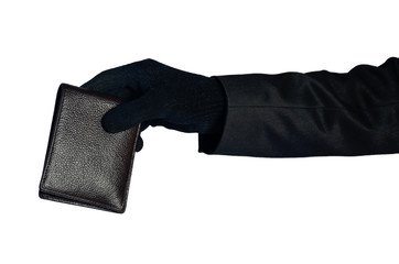 Thief hand grab wallet