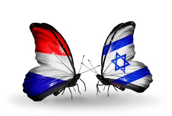 Two butterflies with flags Holland and Israel