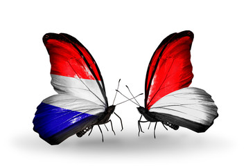 Two butterflies with flags Holland and Monaco, Indonesia