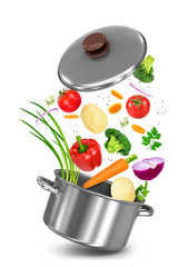Mix vegetables falls in a pot on a white background