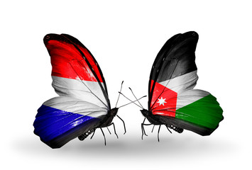 Two butterflies with flags Holland and Jordan