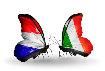 Two butterflies with flags Holland and Ireland