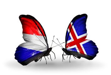 Two butterflies with flags Holland and  Iceland