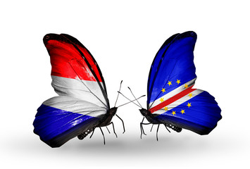Two butterflies with flags Holland and Cape Verde