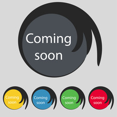 Coming soon sign icon. Promotion announcement symbol
