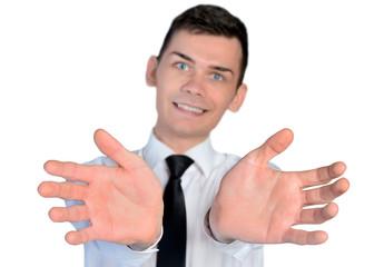 Business man open hands