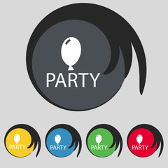 Party sign icon. Birthday air balloon with rope or ribbon symbol