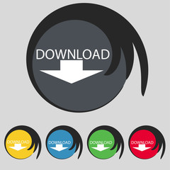 Download icon. Upload button. Load symbol
