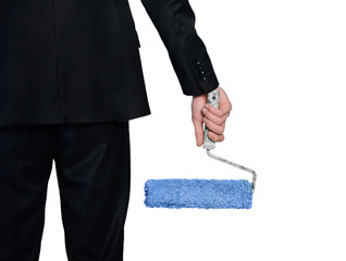 Paint roller in man hand