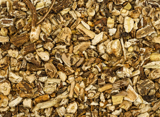 Close view of dried chopped dandelion root