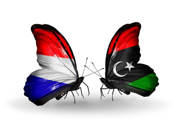 Two butterflies with flags Holland and Libya