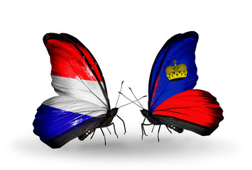 Two butterflies with flags Holland and Liechtenstein