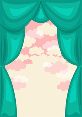 Green Curtain with Pink Clouds