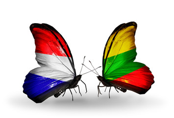 Two butterflies with flags Holland and Lithuania