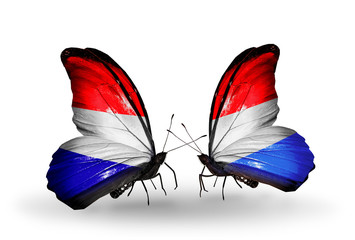 Two butterflies with flags Holland and Luxembourg