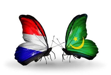 Two butterflies with flags Holland and Mauritania
