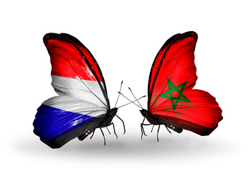 Two butterflies with flags Holland and Morocco