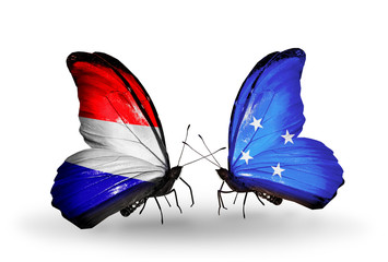 Two butterflies with flags Holland and Micronesia