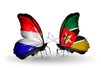 Two butterflies with flags Holland and Mozambique