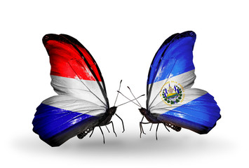Two butterflies with flags Holland and Salvador