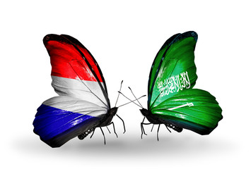 Two butterflies with flags Holland and Saudi Arabia