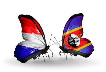 Two butterflies with flags Holland and Swaziland