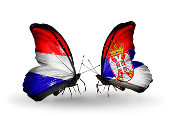 Two butterflies with flags Holland and Serbia