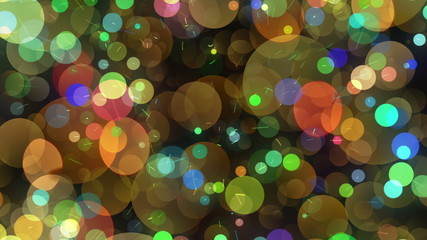 Many Round Shapes in Chaotic Arrangement. Bokeh backgrounds