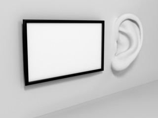 Ear in tte wall with banner. Listening concept.