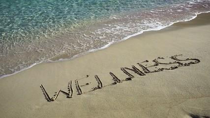 Wort Wellness in feinem Sand geschrieben