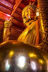 Big golden Buddha statue in Wat Panan Choeng