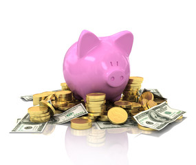 Pig piggy bank on gold coins with reflection