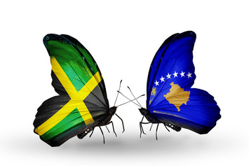 Two butterflies with flags Jamaica and Kosovo