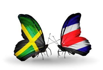 Two butterflies with flags Jamaica and Costa Rica
