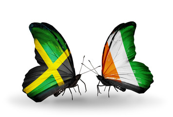 Two butterflies with flags Jamaica and Cote Divoire