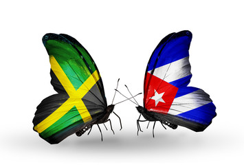 Two butterflies with flags Jamaica and Cuba