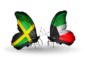 Two butterflies with flags Jamaica and Kuwait