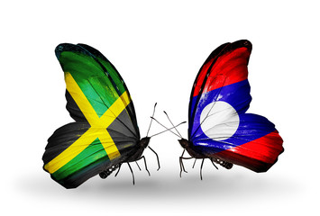 Two butterflies with flags Jamaica and Laos