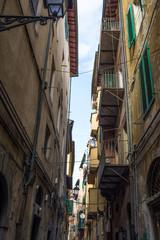 Facciata palazzi, casa torre, centro storico, Pisa