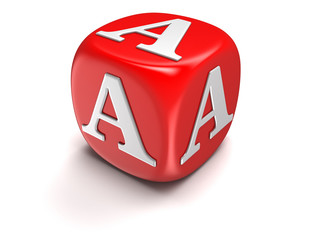 Dice with letter A (clipping path included)