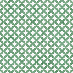 Green and White Interconnected Circles Tiles Pattern Repeat Back